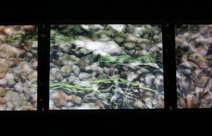 Vattendrag som rinner mellan flera bildskärmar i videoloop, av Michel Droetto.