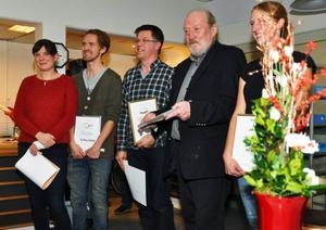 Pristagarna från vänster, Lisa Jungell och Erik Östling, Gårdsnära (miljö), Ruben Nesterud, teatergruppen Fjällhumlorna (tillgänglighet), Bengt Mona (kultur) och Anna Linde, (ungdomsledare).