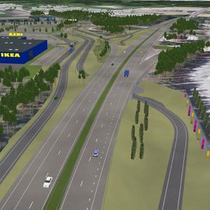 Så här illustrerar Trafikverket den nya avfarten vid det nya Ikea-varuhuset i sin folder. På riksväg 80 kommer nästan 40 000 bilar per dag att passera enligt prognosen för 2030.