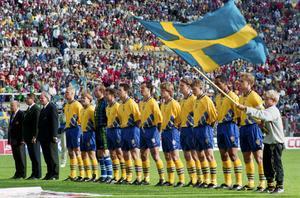Sverige - Norge, 2-0, Fotbolls-VM 1994: Sveriges startelva, fr. v Klas Ingesson, Tomas Brolin, Thomas Ravelli, Roland Nilsson, Patrik Andersson, Joachim Bjšrklund, Stefan Schwarz, Jan Eriksson, Jesper Blomqvist, Martin Dahlin och Jonas Thern.