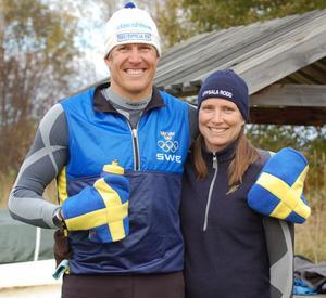 Lassi Karonen och Linda Tjäder efter målgång. Nu väntar tävlingar i USA och Nya Zeeland för Lassi Karonen.