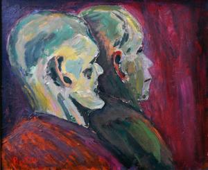 """""""Betraktare"""". Av Bertil Bertell, före detta lärare på Gävle Konstskola."""