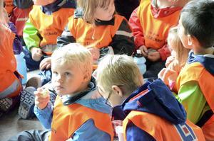 Smörgås och banan blev första mellanmålet på Sagoskatten för Sigge Nyqvist och hans kompisar.