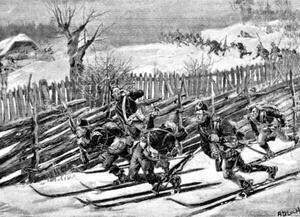 En teckning av A Bloch visar hur de svenska trupperna snabbt blev kappåkta av de snabbfotade norska skidtrupperna.