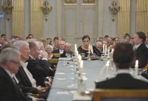 Den ständige sekreteraren Sara Danius i centrum när Svenska Akademien höll sin traditionella årliga högtidssammankomst på söndagen.