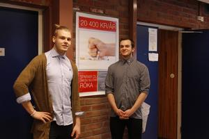 Albin Torstensson och Alexander Castman jobbar med Pando.