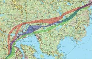 Utredningsalternativ: Gröna korridoren längd 51 km, tunnlar 17,3 km, broar 6,7 km. Blåa korridoren längd 52 km, tunnlar 11,6 km, broar 3,1 km. Röda korridoren längd 53 km, tunnlar 17,9 km, broar 2,5 km
