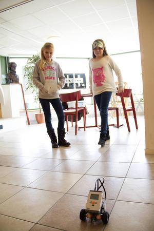 Agnes Sundqvist och Sigrid Wiklund är nöjda med hur deras robot rör sig.