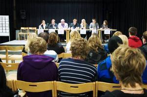 Representanter från de sju riksdagspartierna debatterade skol-, miljö- och arbetsmarknadsfrågor på Mediacenter i Svenstavik i går. i publiken fanns ett knappt hundratal niondeklassare och gymnasieelever.