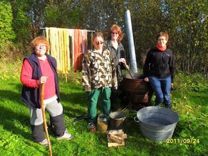 Margareta Säterdal, längst t v, och ytterligare några medlemmar ur Södra Dalarnas Medeltidsförening ägnade den gångna helgen åt att färga ullgarn med hjälp av svampar och renfana.