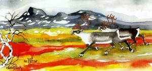 Höstlandskap. Foto efter original i akvarell av Lars Pirak.