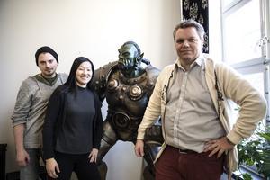 Mats Persson, Linnea Agné och Jon Bylund njöt av framgången när Spelet Ruckus Rumble hade release.