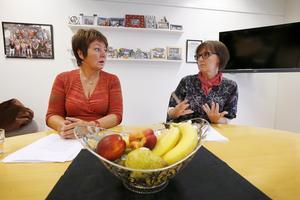 Marita Sandin Larsson och Anneli Vossman Strömberg, rektorer på fristående skolorna Freinetskolan Hugin och Mimer.