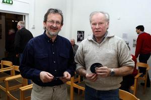 Owe Norberg och Åke Palm vid Ljusdalsbygdens museum är nöjda med första filmkvällen i Ljusdal. Torsdagskvällens första samling lockade 60 personer.