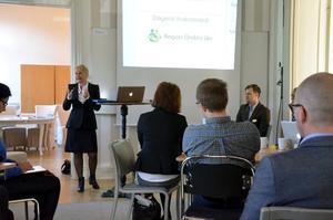 Ny region. Regionråd Marie-Louise Forsberg-Fransson, S, besökte tisdagens näringslivsfrukost på Nora stadshotell för att berätta om nybildade Region Örebro län.