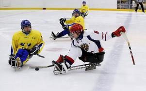 Match i kälkhockey mellan Sverige och Ryssland i Paralympic Winter World Cup i Sollefteå 2011. Sveriges Jan Edbom och Rysslands Dimitry Lisov i närkamp. Foto: JESSICA GOW / TT
