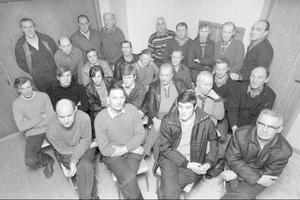 Den här bilden togs i Blåsjöns Folkets hus strax efter det att strejken inletts. På bilden förekommer ett antal personer som inte ingick och några som lämnade skaran till förmån för arbete i Göteborg.