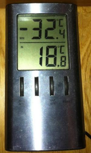 David Grimaldi i Romfartuna Myrby mätte upp denna temperatur under natten. Den kommer dock inte in i SMHI:s statistik för Västerås.