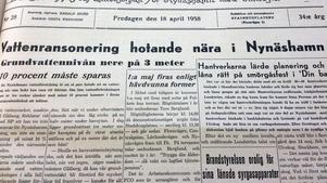 1958 hade Nynäshamn problem med vattenförsörjningen.