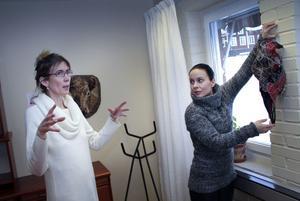 Nordanstigskonstnärer kan visa upp sig på turistbyrån. Camilla Eriksson-Uddén och Petra Shara Stoor diskuterar var de ska hänga den mustigt dekorerade djurskallen.
