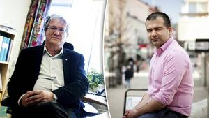 Kommunchefen Tomas Alsfjell (till vänster) anser inte att det brott som Majed Safaee (till höger) har erkänt har någon anknytning till Safaees arbetsuppgifter.