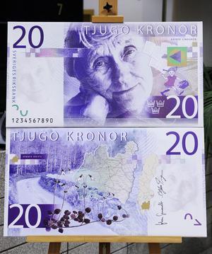 Astrid Lindgren pryder 20-lappen.