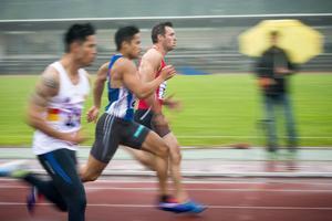 Gerlach under Sundsvall Windsprint där han tog personligt rekord på 100 meter: 11,20 sekunder.