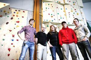 Styrelsen i Malungs klätterklubb. Från vänster Joakim Eriksson, Peter Bäckström, Susanne Hedh, Peter Nilimaa och Hans Strömbäck.