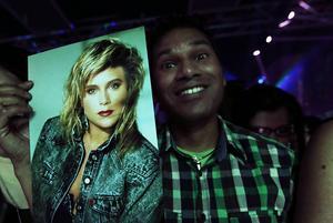 Ett av Samanthas fans som kommit hela vägen från London för att se sin idol.