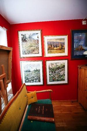 Gustav Herbert Carlsson gillar blomstermotiv. Den som vill kan slå sig ner i soffan och vila ögonen på massor av vackra motiv.