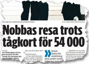 Falu Kuriren 29 december 2010. Här berättar Falubon om att hans årskort för 54 000 kronor inte gällde för resorna från Falun till Gävle.
