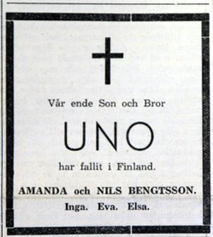 Uno Bengtsson från Nynäshamn stupade någon av de sista dagarna under Finska vinterkriget, dit han åkte som frivillig. Den 29 mars 1940 kunde Nynäshamnarna se hans dödsannons i Nynäshamns-Posten Foto: Helene Skoglund