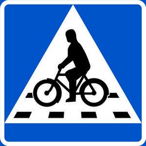 Den nya skylten för cykelöverfart där cyklisten har företräde.