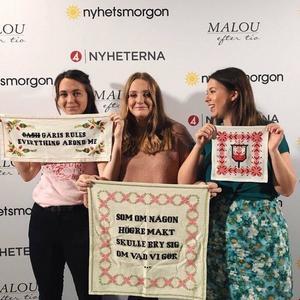 Frida Ashbourne, Matilda Lenne och Matilda Jansson efter sin medverkan i Nyhetsmorgon i TV4.