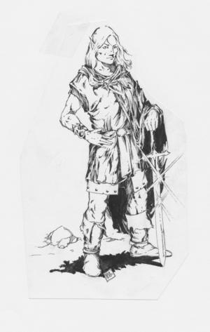 Nils Gullikssons illustrationer satte looken för sin generations fantasy, enligt Orvar Säfström. Detta är en alv från Drakar och Demoners Monsterboken.