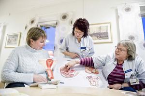 Karin Ingare Dahlstrand, Astrid Åkerlund och Inga-Lena Olsson från Bollnäs Familjecentrum visar vilka muskler det är som ska tränas under Snippgympan.