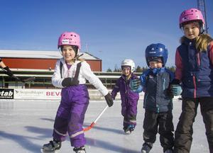 Amanda Ullberg, Vanessa Zeithén, Felix Renholt och Aina Ullberg bor i Stockholm men firar sportlov i Söderhamn med sina familjer.