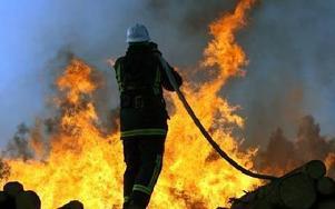 25 brandmän fanns på plats för att bekämpa elden vid Rågsvedens såg.FOTO:LEIF OLSSON