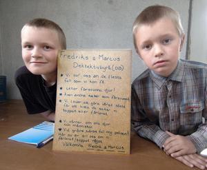 Detektiverna Fredrik och Markus Jonsson med en skylt som kan ses som deras programförklaring.