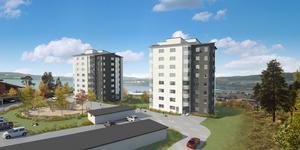 Totalt 84 lägenheter ska byggas i de två höghusen som bildar Solsidan.
