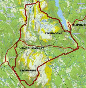 Det är i det här områden den reglerade skotertrafiken planeras. Området kallas Fjällplatån.