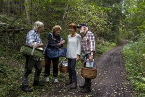 Anna-Greta Bengtsson och Hanna Vesterström granskade svampar tillsammans med Ann-Christin och Anders Hirell.