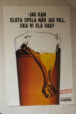 Affisch hos Spelberoendes Riksförbunds förening i Borlänge.