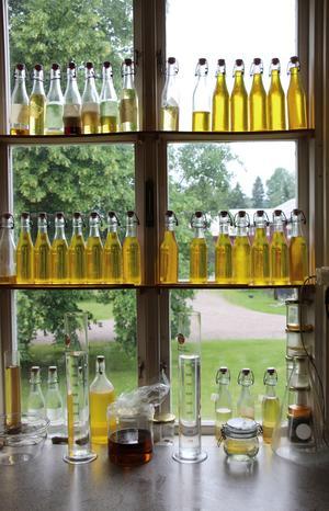 Det tar runt två år från lin till bra linolja. För att få den ljusare soblekts oljan i fönstren.