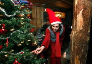 Till de många aktiviteter som bjudits i Furuvik under julmarknaden hör tomtenissarnas verkstad där barnen fått pyssla och skriva önskelistor på julklappar. Heidi Sundgren var en av nissarna som tog hand om de unga besökarna.
