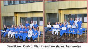Här är de två bilder från USÖ:s barnklinik. Många stolar gapar tomma efter att de utländska läkarna inte är med på bilden.