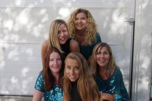 Boozt hänger på kvällens schlagertema, men har också en rockshow för hårdare tillfällen. Från vänster längst bak: Frida Winberg, Camilla Karlsson, Camilla Edfalk, Tina Mattsson och Fia Alander.