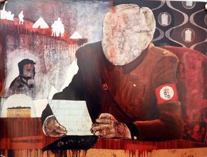 Anders Sunnas tavlor är provocerande och hans sätt att protestera. Utställningen finns på Härjedalens kulturcentrum till den 19 december.