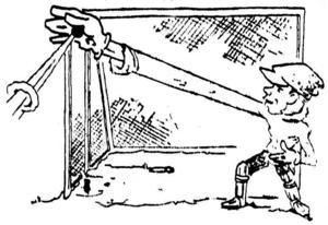 """TOG 18 BOLLAR. """"Största äran av segern hade Tirfingmålvakten Lager vars gripklor hann vara med överallt"""", skrev sporttecknaren W Nyström i sitt bildreportage från bandyfinalen."""