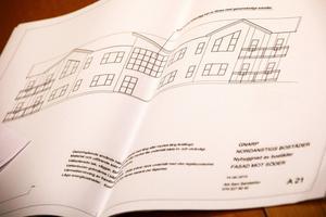 En ritning på ett hus som skulle kunna byggas i Gnarp finns framtagen.